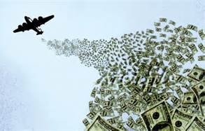 airplane dropping money